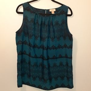 Loft sleeveless teal and black blouse